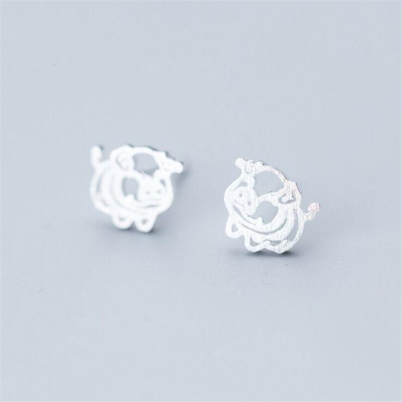 Stud Earrings Energetic New Creative Fashion Jewelry Source Sprouting Ping 925 Sterling Silver Cute Hollow Small Animal Women Stud Earrings E261 100% Original