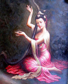 """100%Handmade Wonderful Oil painting Chinese Gansu Dunhuang flying fairy playing canvas 36"""""""