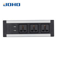 JOHO Desktop Sockets 3 Sockets Dual USB Charger 250V 10A/16A Universal Tabletop Socket for Portable Computers Desktop Data Cable