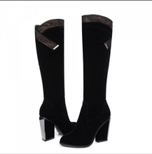 Free Shipping 2016 New Winter Side Zipper Thick With Knee High Boots Korean Fashion Women's Rhinestone High Heel Boots
