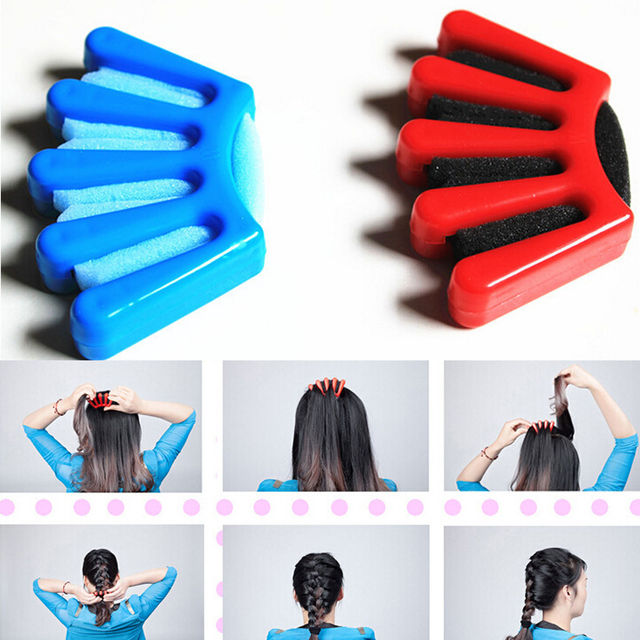 1pcs Women S Diy Sponge Hair Braider Plait Twist Braiding Tool Blue Red Styling