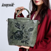 AEQUEEN Green Embroidery Embossing Shoulder Bag High Quality Handbag Women Leather Luxury Crossbody Bags Vintage Chinese Style