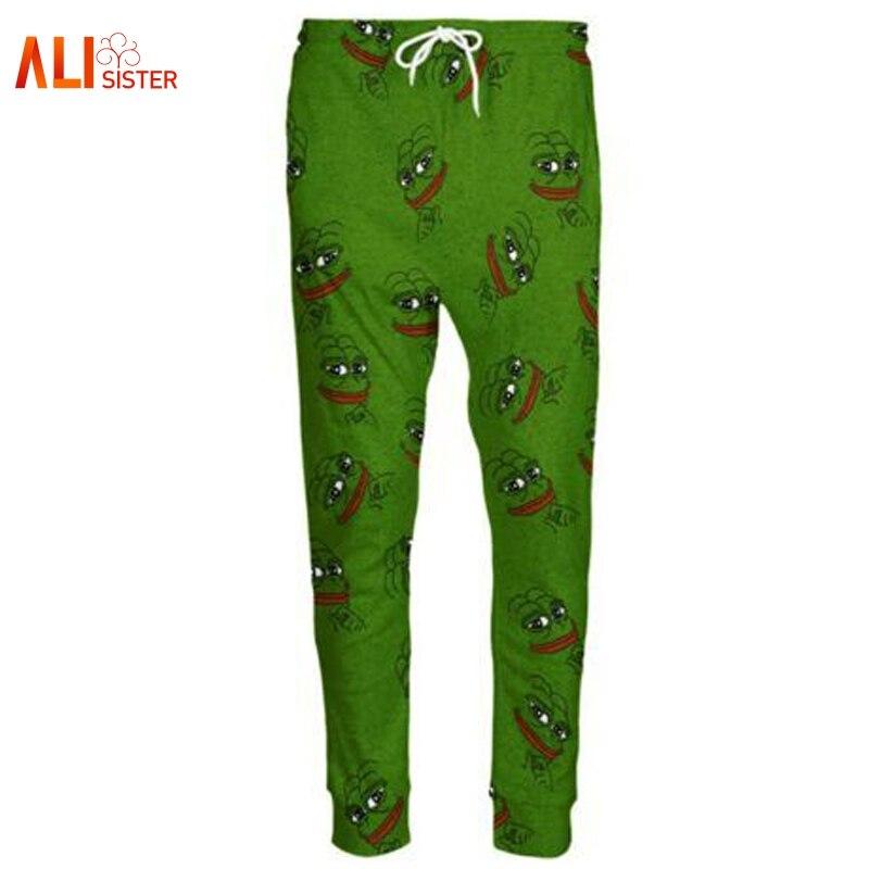 Alisister 3D Pepe лягушка джоггеры Брюки для девочек Для мужчин/Для женщин Забавный мультфильм Мотобрюки Треники Осень зимний стиль Мотобрюки дропшиппинг