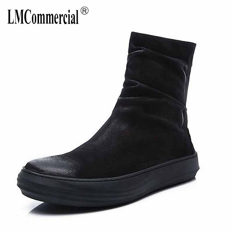The new winter men leather boots for men and Martin England zipper tooling boots British retro men shoes breathable casual shoes