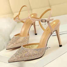Liren 2019 Summer Fashion Sexy Lady Thin High Heels Party Sandals Shallow Pointed Toe Wrapped Rhinestone Buckle Shoes