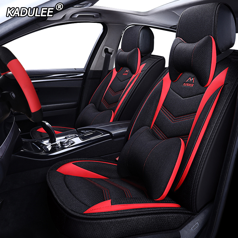 KADULEE Flax Car Seat Cover For Lada Granta Vesta Priora Kalian Largus Xray Niva Protector Car Accessories Automobiles Seats