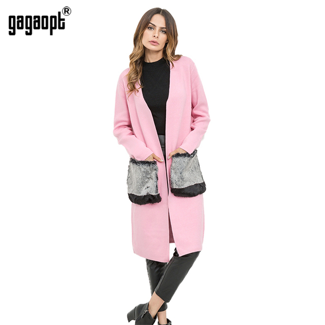 Gagaopt 2018 Cardigan Sweater With Faux Fur Pocket Long Cardigan