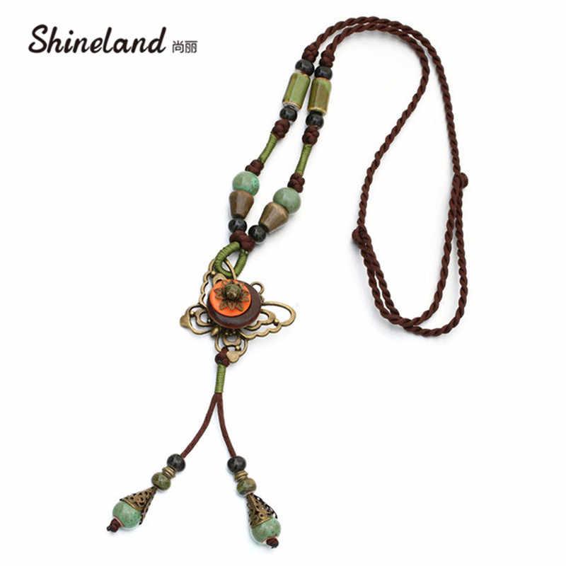 Shineland Модный Свитер Цепочка керамическая бронзовая Бабочка Длинная веревка ожерелье подвеска Универсальная женская зимняя кисточка ювелирный подарок
