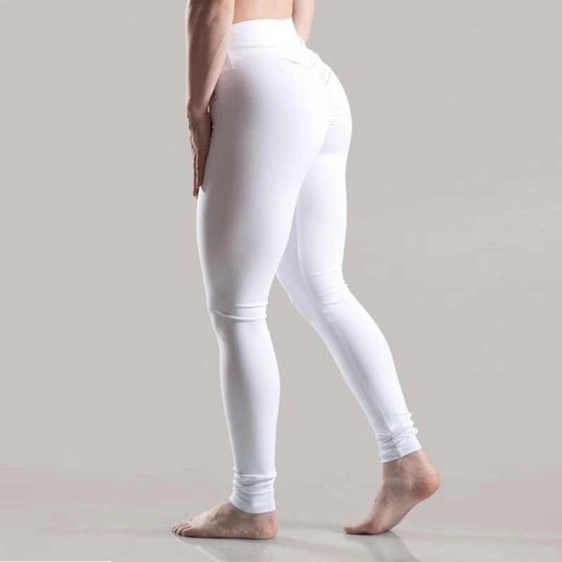 69f8f5e4d1885 ... 2018 Slim Ruched S-XL 9 Colors Women Push Up Leggings Casual Workout  Black Polyester ...