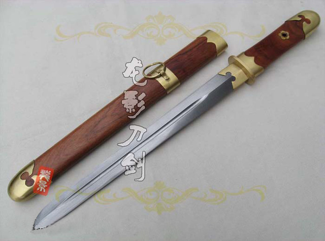 S4946 RED BROWN WOOD CHINESE CLASSIC SHORT KNIFE SWORD W/ DAMASCUS PATTERN WELDING STEEL BLADE 20.6""