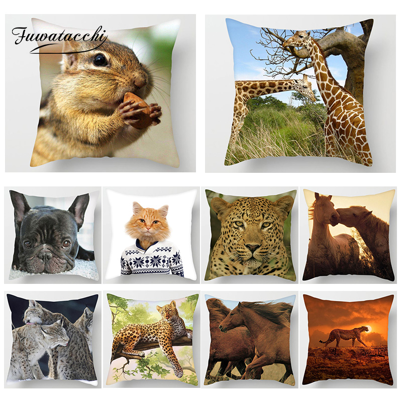 Fuwatacchi Animal Print Pillowcase Cute Dog Wolf Tiger Giraffe Throw Pillows Cover Sofa Home Living Room Decor Cushion Cover in Cushion Cover from Home Garden