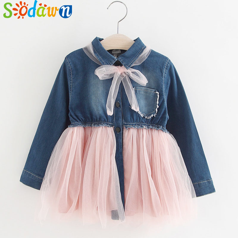Sodawn 2017Autumn New Baby Girl Clothes Lapel Pocket Denim Stitching Princess Dress Baby Girls Dress Children Clothes Kids Dress