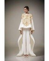 Урожай с длинным рукавом арабский робы мусульманин формальные вечерние платья 2015 золотым шитьем цветы белое пятно пальто брюки пром платья
