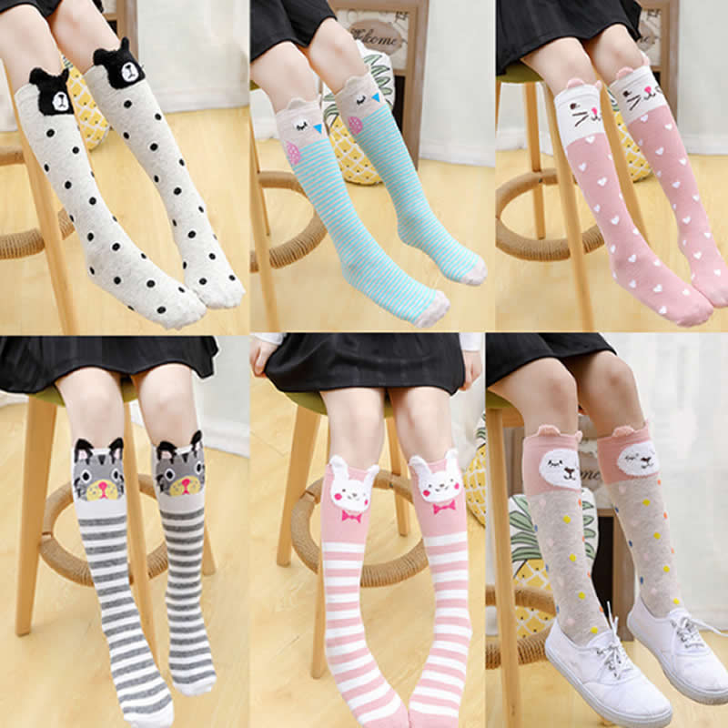 Girl Socks Cartoon Owl Dog Print Children Heaps Socks Half Cylinder Boy Knee-high Socks Kids Knee Above Cotton Sock