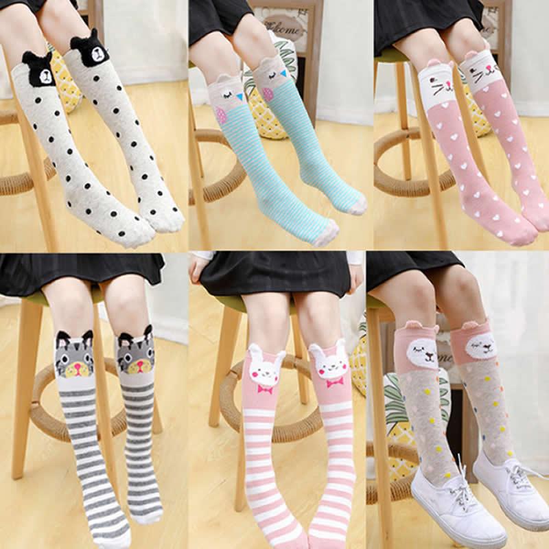 Girl Socks Cartoon Owl Dog Print Children Heaps Socks Half Cylinder Boy Knee-high Socks Kids Knee Above Cotton Sock