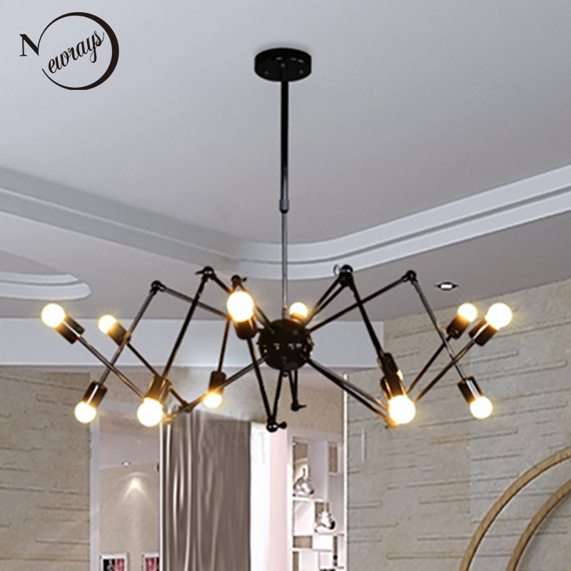 Art deco Modern Spider Pendant Lights With 6/8/10/12 heads adjustable E27 led for restaurant bar cafe office bedroom living room