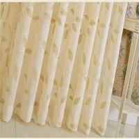 New Natural Linen Rèm Lá Thêu Rèm Sang Trọng cho Phòng Khách nông thôn Màu Be Phòng Ngủ Đơn Giản Hiện Đại Xử Lý Cửa S