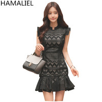Newest Summer Women Work Dress 2018 High End Solid Stand Collar Hollow Out Lace Sleeveless Ladies Bodycon Trumpet Party Dress
