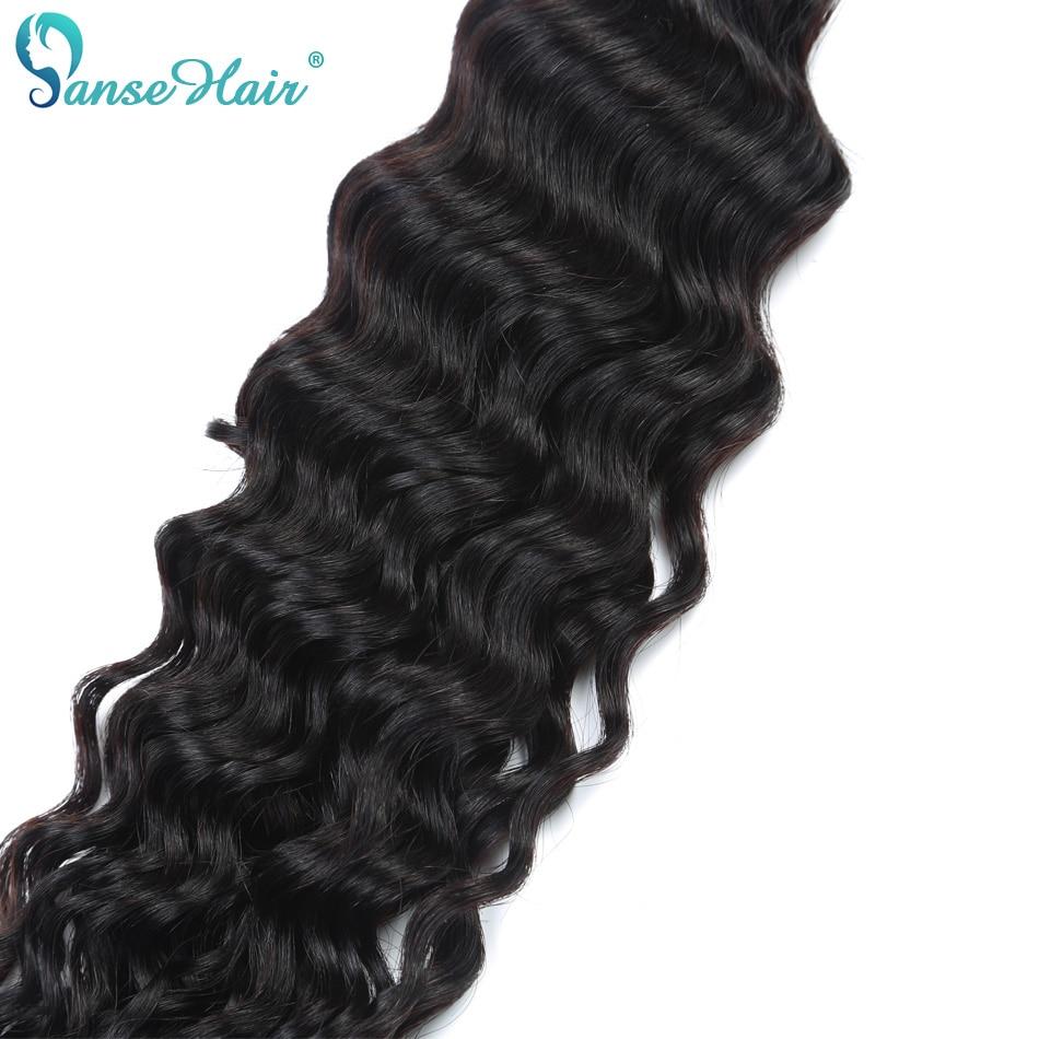 Panse Hair Deep Wave 4 Bundles Per Lot Malaysian Human Hair Weaving - Mänskligt hår (svart) - Foto 6