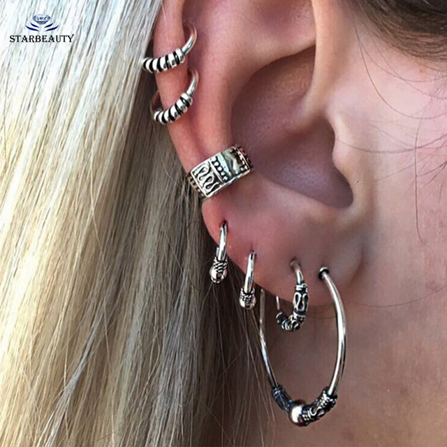 7Pcs Lot Boho Tibetan Silver Top Ear Tragus Piercings Hoop Helix