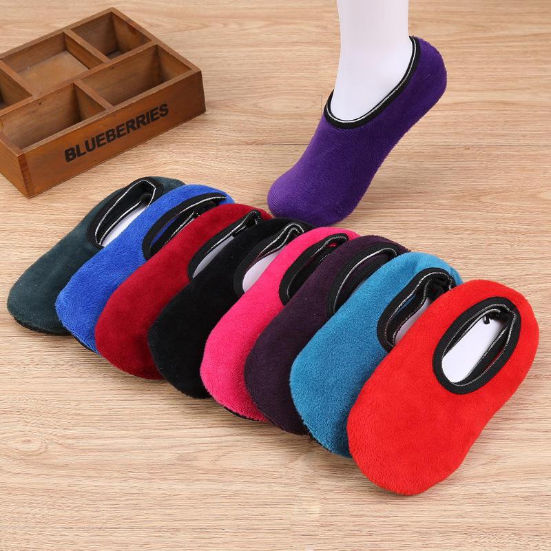 1Pair Women Socks Winter Floor Socks Velvet Indoor Short Anti-skid Boat Socks Solid Color Warm Sock Slippers