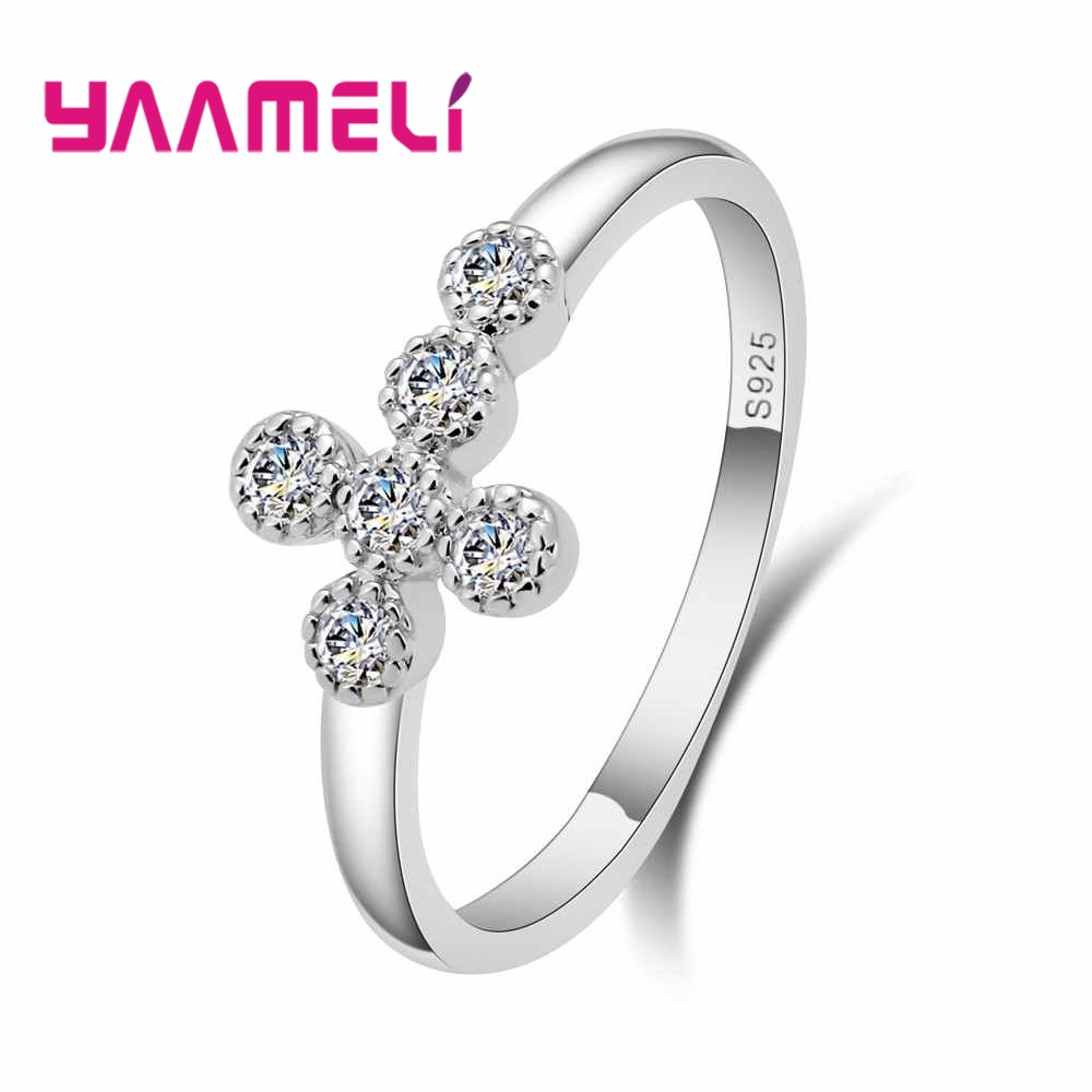 YAAMELI 925 Sterling Silver Naughty Classic Cross Shape Finger Ring for Women Sterling Silver Wedding Engagement Jewelry Gift