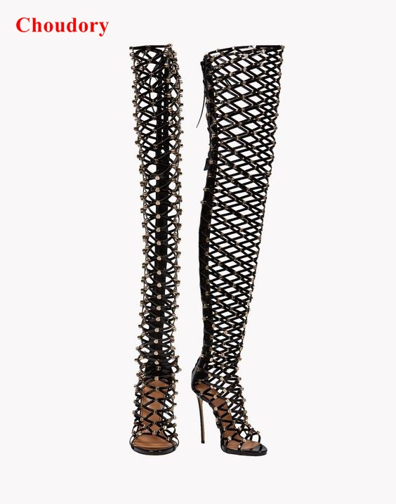 Fashion Summer High Heels Gladiator Sandals Boots Caged Studded Shoes Fashion cut outs thin high heels over the knee boots patent leather knee high fashion women boots buckle strap cool motorcycle boots thin high heels cut outs sandals boots shoes