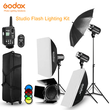 Godox Strobe lampy błyskowej Studio zestaw 900 W oświetlenie fotograficzne Strobes, stodoła drzwi, światła oznacza, wyzwalaczy, parasole, miękkie pudełko