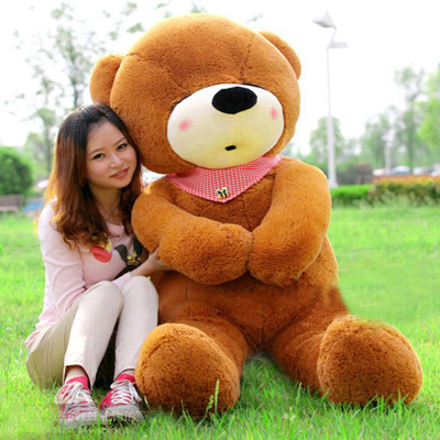 stuffed animal 140 cm teddy bear plush toy sleeping eyes bear doll throw pillow dark brown colour gift w2925 new stuffed dark brown squint eyes teddy bear plush 200 cm doll 78 inch toy gift wb8402