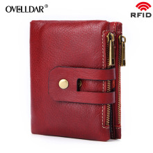 Short Wallets Genuine Leather Women Wallet New Fashion Coin Purse Zipper&Hasp Design Brand With Card Holder Pocket new arrival new men wallets famous brand genuine leather wallet hasp design wallets with coin pocket purse card holder for men carteira
