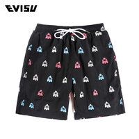 Evisu Men's Summer Black Casual Shorts Pattern Print Compression Beach Shorts Men Cotton Drawstring Skateboard Sweatshorts 910