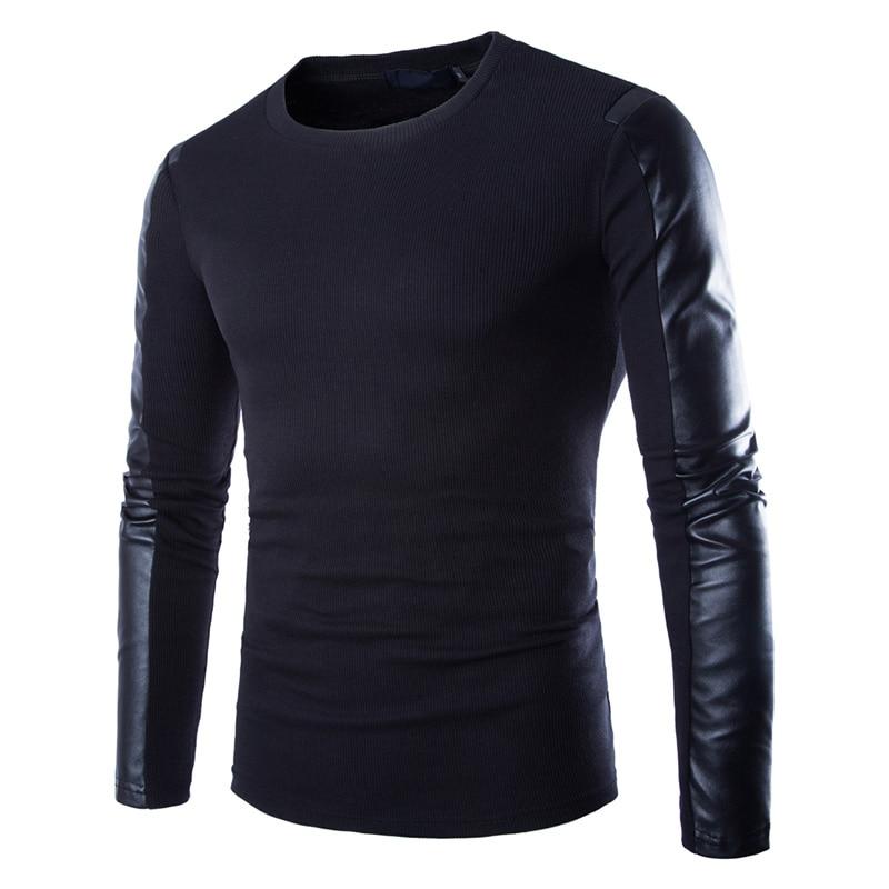 Moe meeste kapuutsiga püksid, must, pikkade varrukatega, pulloveri, PU-patchwork, mees, nahast, Slim Fit, meeste pesu