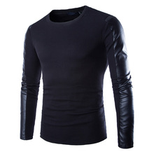 Men Leather Sweatshirt Black Long Sleeve Pullover PU Patchwork Leather Slim Fitness Compression Shirt Men Pullover