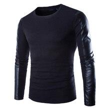 Мужская кожа черный балахон с длинным рукавом искусственная кожа заклинаний круглым воротом одежда фитнес сжатия рубашка мужчины пуловер clothing