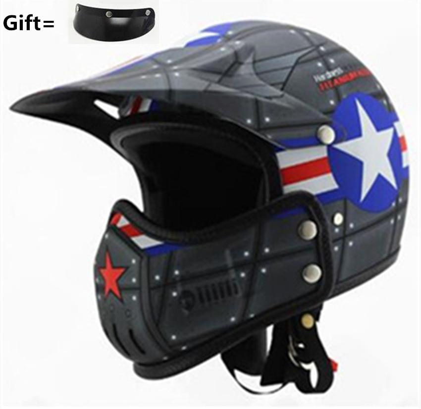 Hilldown modular motorcycle helmet open vintage motorbike helmet personality face retro racing helmet Changeable helmet S M L XL