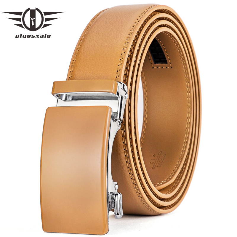 Plyesxale Genuine Leather Belt Men High Quality Ratchet Dress Belt With Automatic Buckle Blue Red Light Brown Mens Belts B36