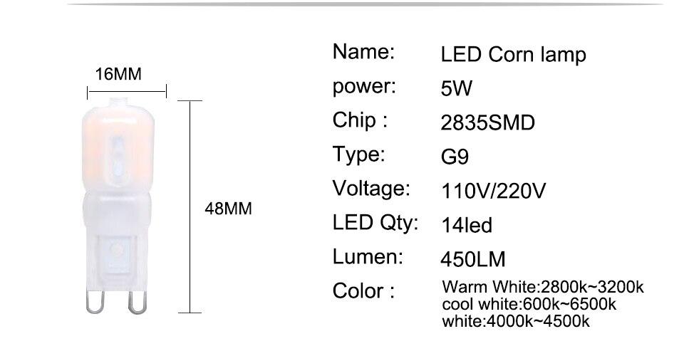 G9 LED Lamp 5W 7W 9W LED Light Bulb AC 220V 110V Chandelier (4)