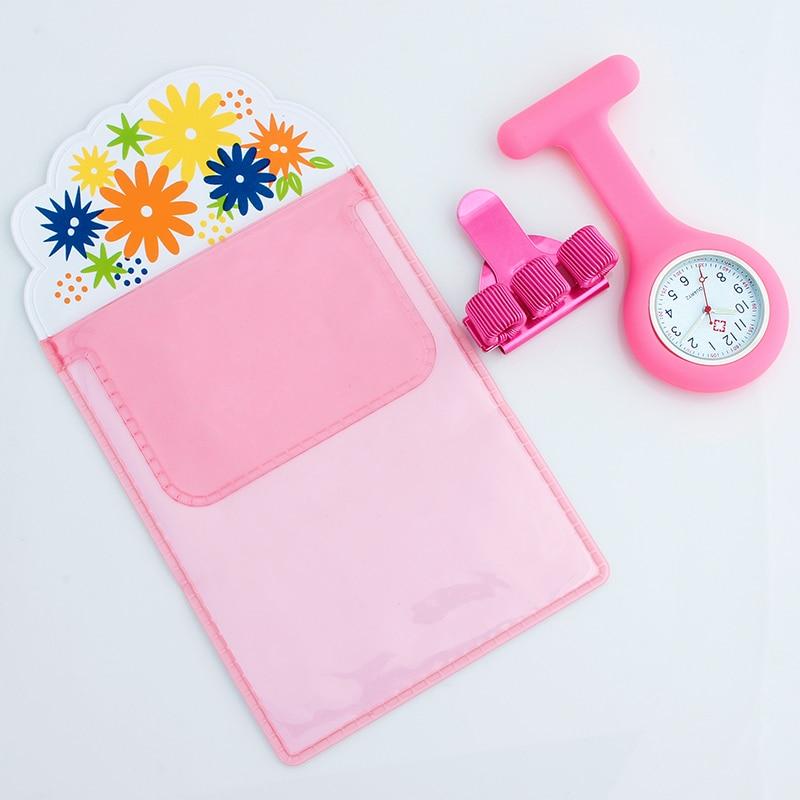 Silicone Brooch Watch Nurse Fob Watch Nursing Gift Quartz Pen Clips 4 Color Penholder Doctors Nurses Dedicated Pen Bag Practical