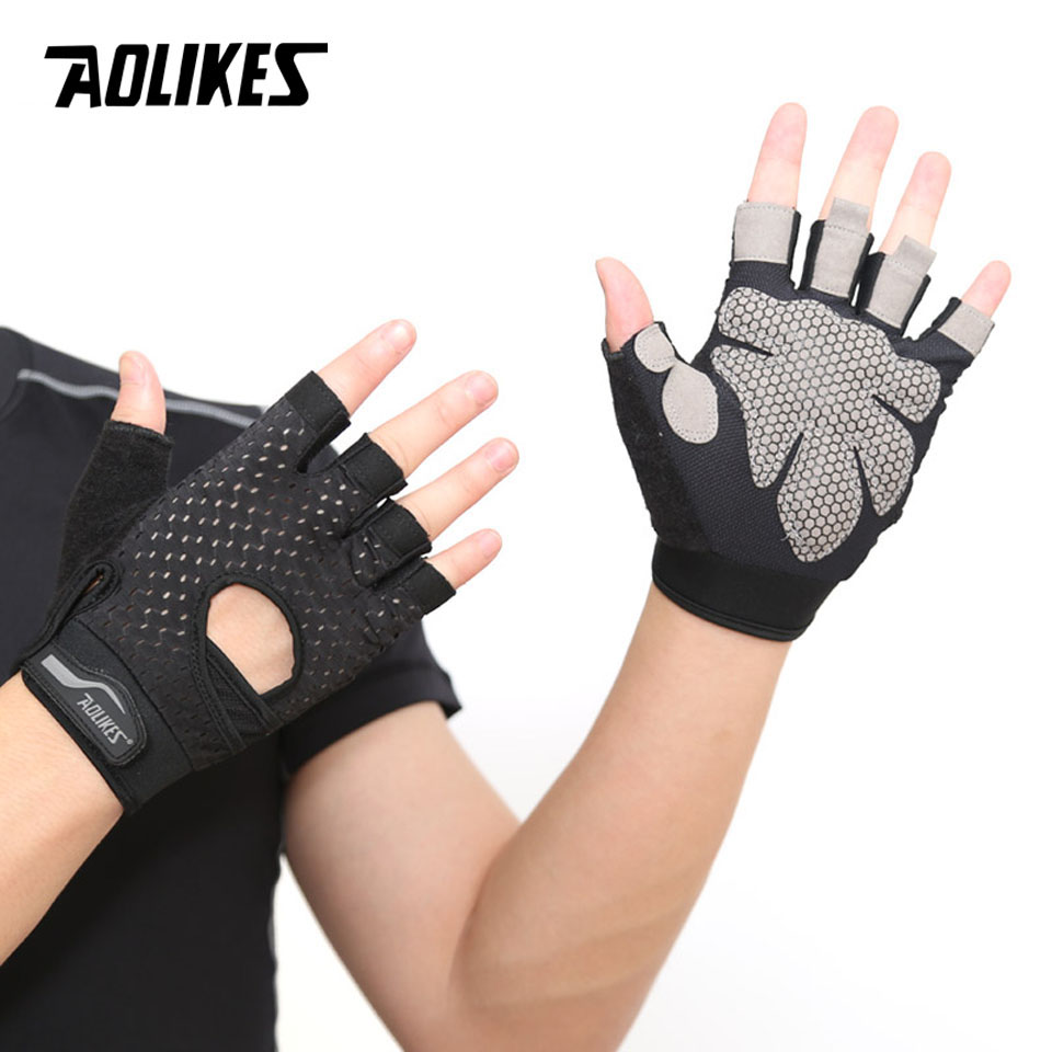 AOLIKES Professional Gym GlovesExercise Gloves Men Hands Protecting Breathable Sports Gloves Sport Fitness Weight-lifting Gloves