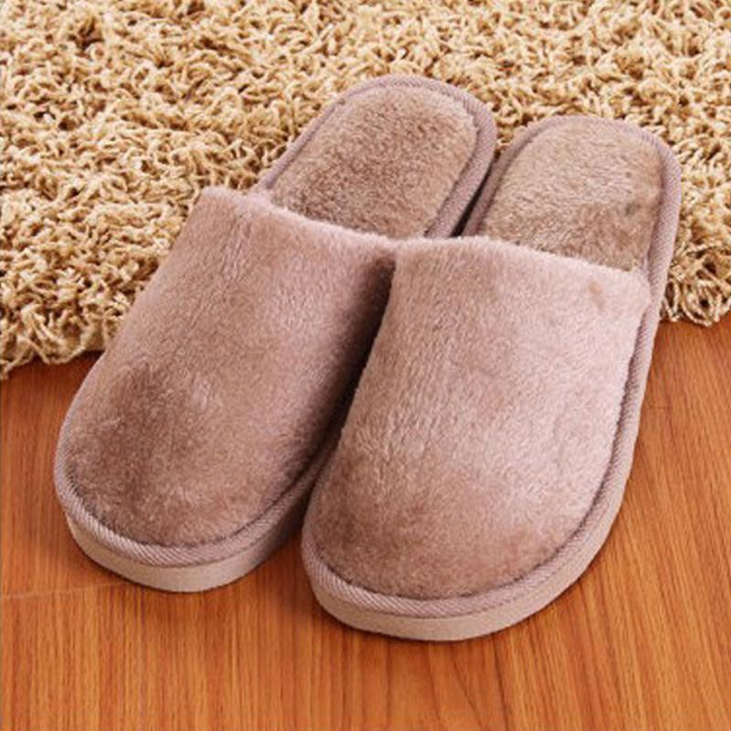 Plush Winter Home Slippers Men Indoor Bedroom Loves Couple Shoes Home Shoes Soft Warm Slippers Pink Pure Color