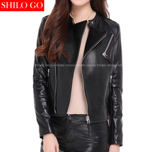 Plus size new fashion women high quality Sheepskin locomotive lapel zipper Slim thin black leather genuine leather jacket 3XL