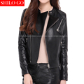 Plus size new fashion women high quality Sheepskin locomotive lapel zipper Slim thin black leather genuine leather jacket 3XL