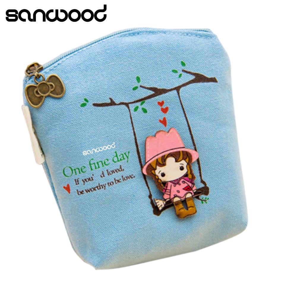 New Adorable Women Canvas Wallet Small Clutch Zip Card Coin Holder Purse Handbag  73Q6