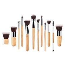Fashion 12pcs/set Natural Bamboo Handle Makeup Brushes Kit Eyeshadow Smudge Shading Brush cosmetic Beauty Tools