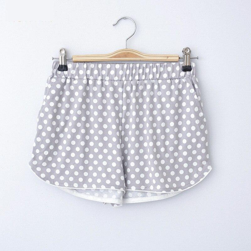 Cute Sleep Bottoms Summer Shorts Women Lovely Polka Dot Pocket Knitting Cotton Pajama Pants Elastic Waist Pijama Plus Size S-XXL
