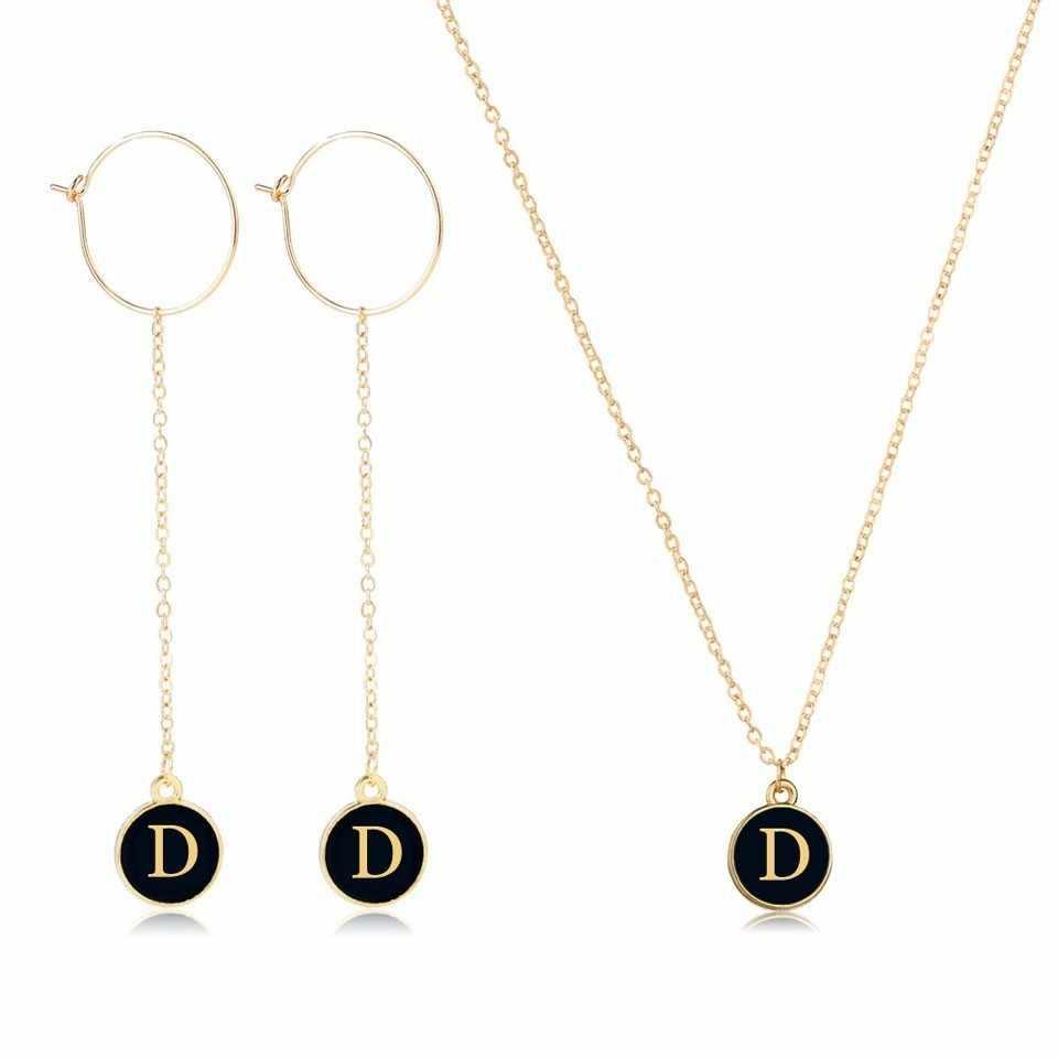 YANGQI אישית A-Z שם ראשי תיבות עגילים ושרשרת סטי לנשים נשי כפול צד בעבודת יד תכשיטים זרוק חינם