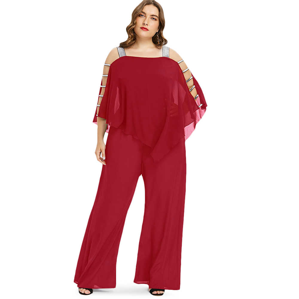 99d90b05397 Kenancy Plus Size 5XL Square Neck Ladder Cut Out Overlay Jumpsuit Women  Asymmetrical Loose Fitting Fashion