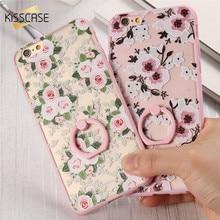 KISSCASE Для iphone 6 6s Case Luxury Fashion Flower Pattern Case для apple iphone 6 6s Тонкий Прозрачный Кольцо Держатель Жесткого ПК