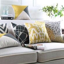 Современные Геометрические Подушки желтый Декоративные диванные подушки гостиная диванные подушки открытый пол стул сиденья подушки Home Decor