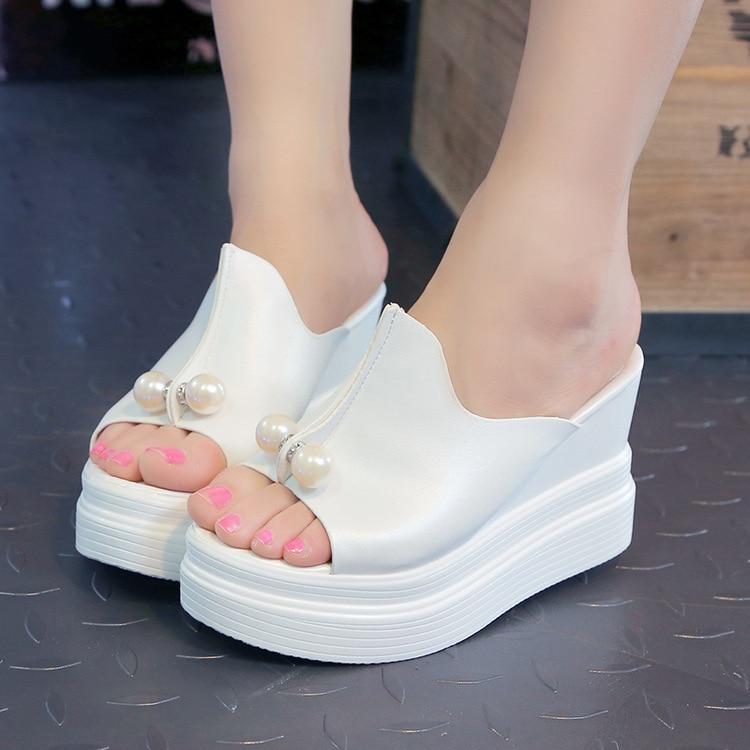 Fish mouth slope heel slippers womens shoes sandals Rhinestone Crystal wedges platform elevator slip-resistant paillette